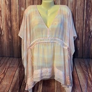 LANE BRYANT 18/20 SHEER PINK/TIE DYE DESIGN BOHO